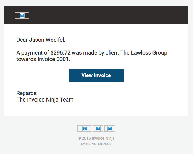 email notification missing image or title invoice ninja